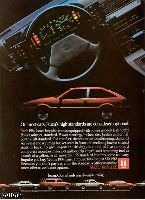 "1984 red Isuzu Impulse ""High Standards"" auto print ad"