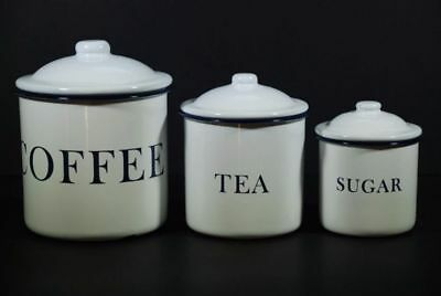 Vintage Country Farmhouse Coffee Tea Sugar & Coffee Canister Set