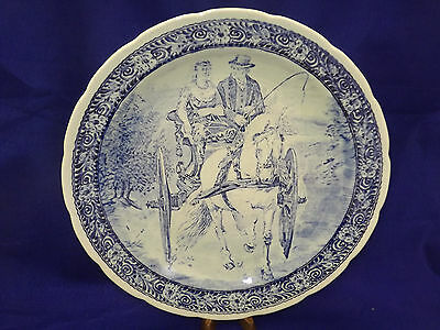 """Vintage Delft Boch Horse & Wagon Scape - 15 1/2"""" Wall Plate / Charger"""
