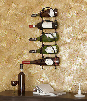 Wrought Iron Wall Mount Rustic Wine Organizer Display Rack Curved Black Set of 5