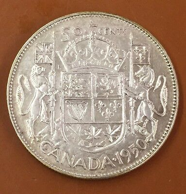 1950 Lines In 0 Canada Half 50 Cent Coin Canadian Fifty Cents