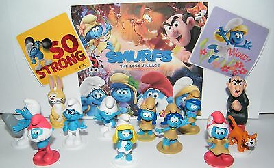 Smurfs The Lost Village Deluxe Figure Toy Set of 14 with Figures and Stickers