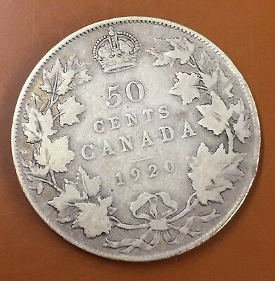 1920 Canada Half 50 Cent Coin Canadian Fifty Cents