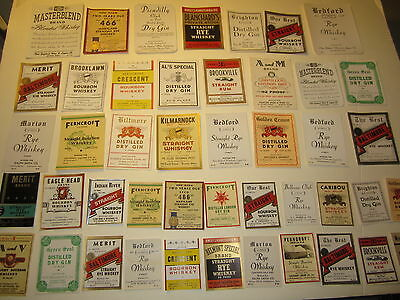 Lot of 46 Old Vintage 1940's - Whiskey & Liquor LABELS - Private Label - MASS.