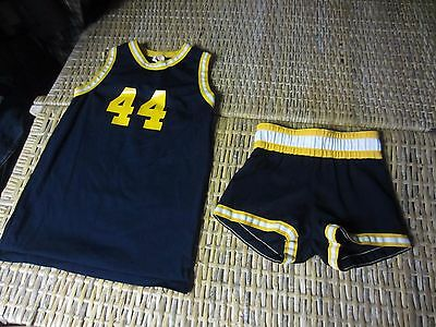 Vtg 70-80s NAVY BLUE gold yellow BASKETBALL UNIFORM jersey short shorts BOYS S M