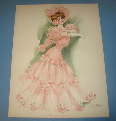 Old Vintage 1907 - Antique VICTORIAN PRINT - New York Show Girl - BROADWAY