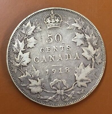 1918 Canada Half 50 Cent Coin Canadian Fifty Cents