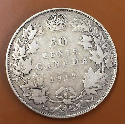 1917 Canada Half 50 Cent Coin Canadian Fifty Cents