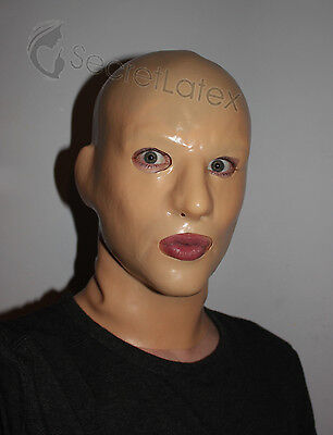 Latex Flesh Rubber Skin Gummi Hood Long Neck Gimp Fetish Anatomical Male Mask