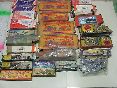 Lot of Mixed Wooden Ship and Plane Model Kit Parts and Remnants