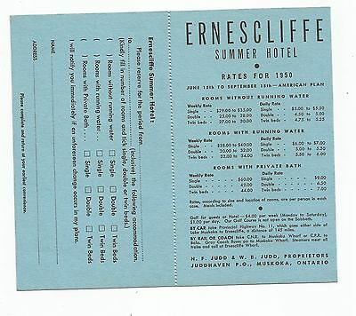 Ernescliffe Hotel, Juddhaven, Lake Rosseau, Muskoka, Rate/Reservation Card, 1950