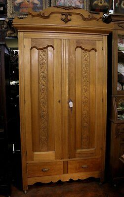 Antique Maple Wood Wardrobe Armoire Ornate Pressed Scalloped Doors 2 Drawers OLD