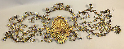 Hollywood Regency Italian Carved Wood and Tole Gold Wall Pediment