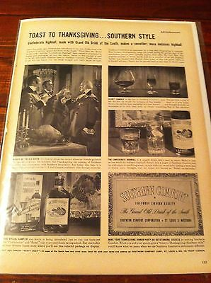Vintage 1952 Southern Comfort Whiskey Confederate Highball Old South Print ad