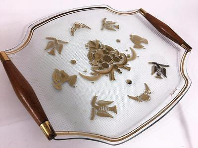 George Briard Signed MCM Mid Century Glass Serving Tray Teak Handles Doves 50s