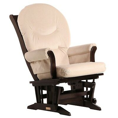 Dutailier Ultramotion- Sleigh Glider- Espresso Finish and Light Beige Fabric