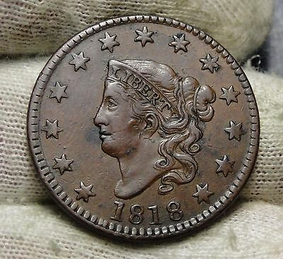 1818 Penny Coronet Large Cent -  Very Nice Coin, Free Shipping  (5680)