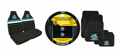 Set Of 3 Cronulla Sharks Nrl Car Seat Covers + Steering Wheel Cover + Floor Mats