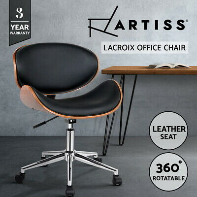 Executive Wooden Office Chairs Home Leather Padded Computer Work Seating
