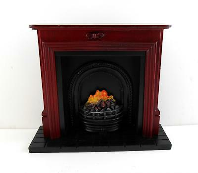 Dolls House Miniature Furniture Mahogany Fireplace with Fire in Black Grate