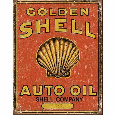 Golden Shell Auto Oil Tin Sign 13 x 16in