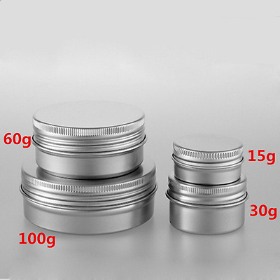 15/30/60/100g Aluminium Empty Cosmetic Pot Jar Tin Container Box Screw Lid Lot