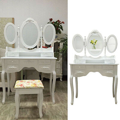 White Dressing Table Vanity Makeup With Stool, 7 Drawers and 3 Mirror Desk Set