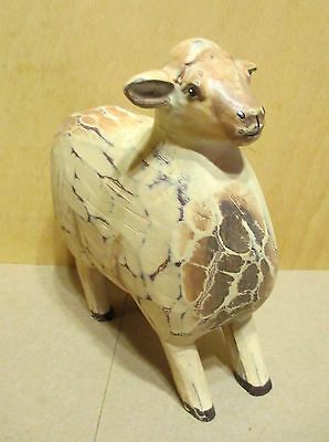 "Sheep Standing Folk Art Style 6 1/2"" Figurine Country Farm   a2b"