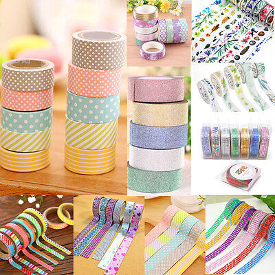 DIY 1/5/10 rolls Washi Tape Book Decor Scrapbooking Adhesive Paper Sticker Craft