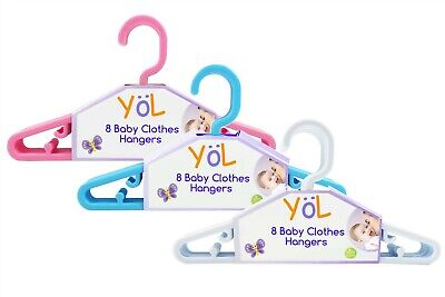 First Steps Pack of 8 Baby Clothes Hangers in assorted colours - 8,16,24,32 pack