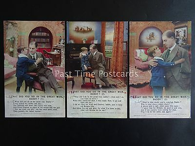 WHAT DID YOU DO IN THE GREAT WAR DADDY? WW1 Bamforth Song Cards set of 3 No.4993