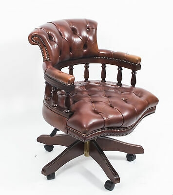 Bespoke English Hand Made Leather Captains Desk Chair Bruciaton
