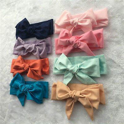 Girl Kids Baby Cotton Bow Hairband Headband Stretch Turban Knot Head Wrap Bow