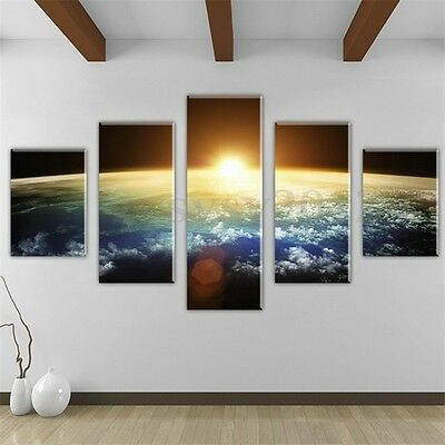 5pcs Earth Sunrise Canvas Print Painting Wall Art Hanging Pictures Home Decor