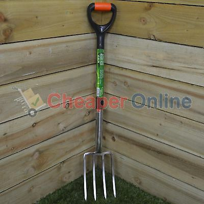 92cm Stainless Steel Green Garden Border Fork with Plastic Coating and Handle