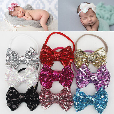 Lovely Infant Baby Girl Hair Bow Band Sequin Bowknot Headband Turban Accessories