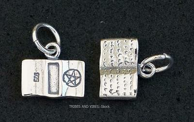 Book of Shadows Charm Sterling Silver Pentacle Pagan Wicca Witch Druid Jewellery