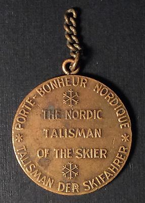 Nordic TALISMAN OF THE SKIER Medal Good Luck & Skier Pendant Lot of Two