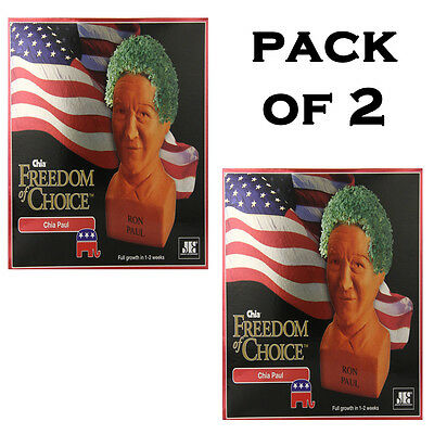 Pack of 2 Chia Ron Paul Planter Original Pottery Planter that grows a green coat