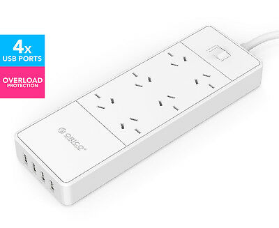 Orico 6 AC Outlets w/ 4 USB Charging Ports Power Board - White