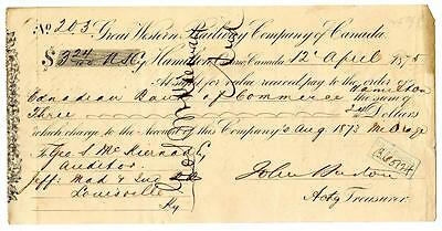 1875 Great Western Railway Company Canada Railroad Montreal Bank Check #203