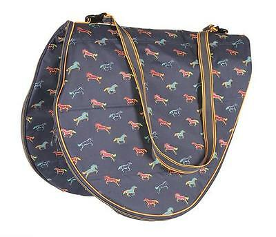 Shires Saddle Bag, Horse Print Design, Large Storage bag