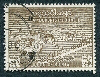 BURMA 1954 35p bistre-brown SG153 used NG Buddhist Council Rangoon #W21