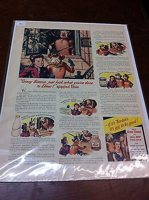 Vintage 1945 Ginny Simms Borden's Dairy Elsie The Cow Print ad