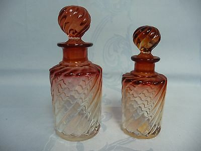 Lovely Pair Of Antique Baccarat Scent Bottles - Rose Teinte Swirl
