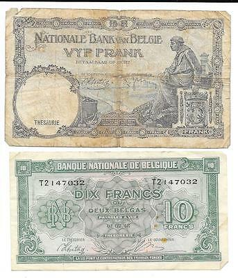 Belgium Bank Van Belgie Belgique Note 1943 10 Frank 1938 5 Francs Lot