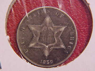 1859 Three Cent Silver - Xf - See Pics! - (N8033)