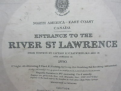 Antique British Admiralty Chart Map North America East Coast St.Lawrence 1890