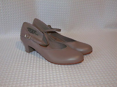 Womens Tan Mary Jane Character Leather Soles Theater Dance Jazz Heels Shoes 7.5