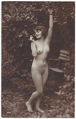 1920 French NUDE Photograph - Youthful, Slender, Smiling & Outdoors